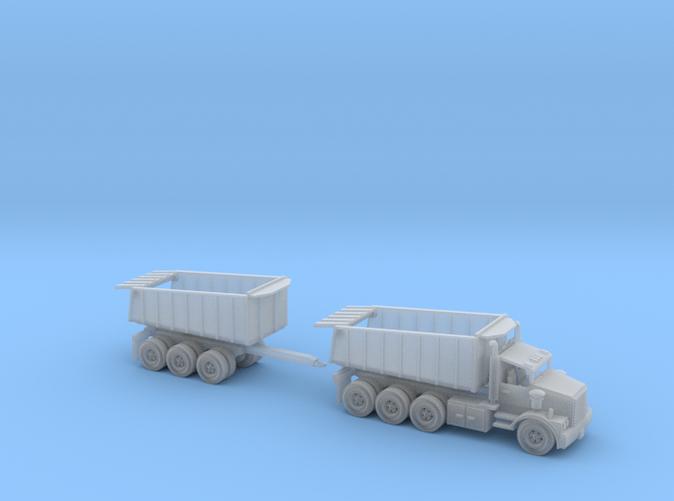 1 Tri Axle Dump Truck with Dump Trailer N scale
