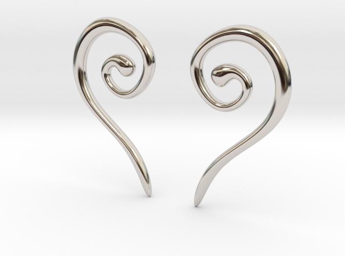 Medieval Half Heart earrings rhodium