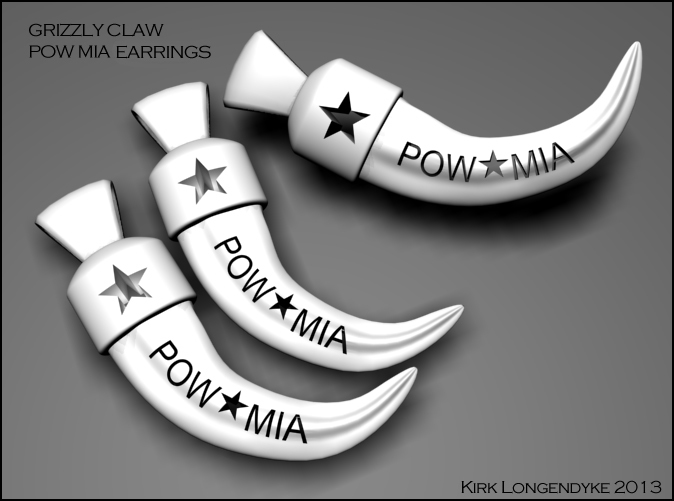 Grizzly Claw Earings - POW MIA cut out.
