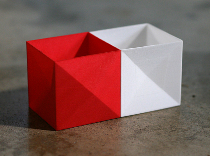 Tessellating design allows boxes to be paired together.