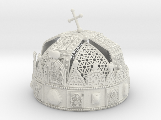 """3dprint """"Hungarian Holy Crown with net"""" Material: White Strong & Flexible"""