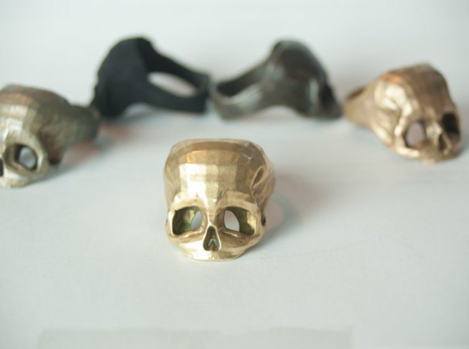 Brass Skull Ring by Bits to Atoms