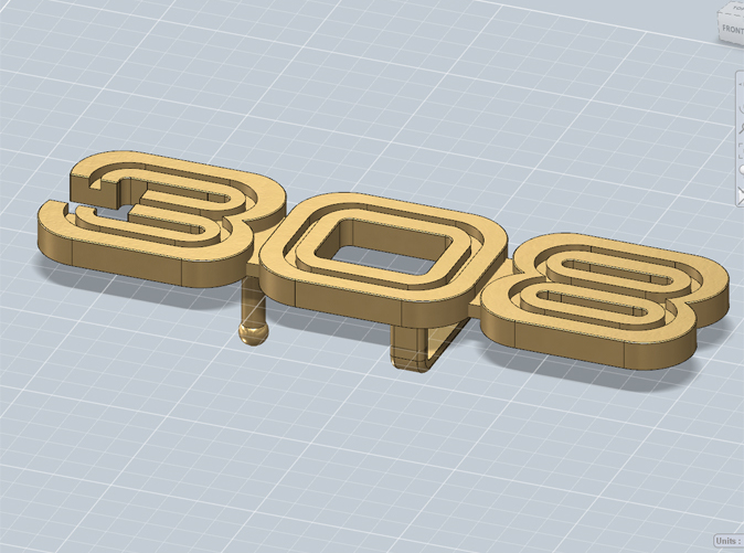 Belt buckle with the 308 logo, render
