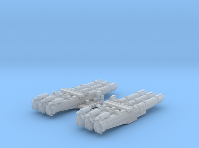 """1/500 WW2 RN 21"""" Triple Torpedo Mounts (2)"""