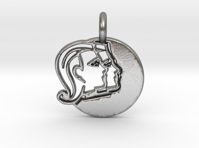Astrology Zodiac Gemini Sign in Silver.