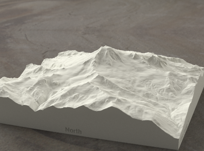 Radiance rendering of model data, viewed from the West