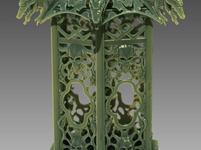 3D render of lantern as if carved from jade.