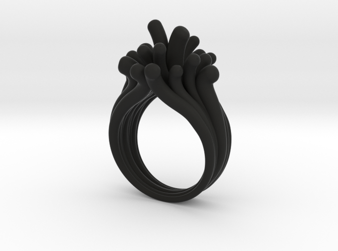 Water Drops Black Color Ring