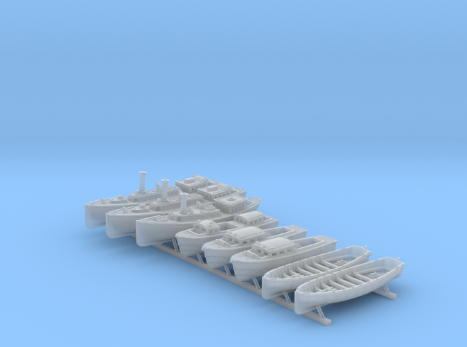 1/400 WW2 RN Boat Set 4 Without Mounts