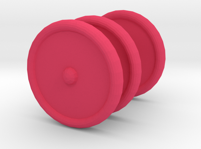 Three Pink Scooter Wheels