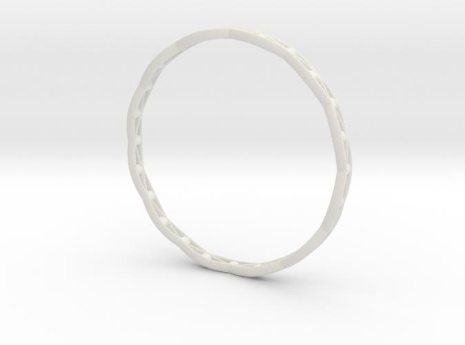 Bracelet 3D printed in White Strong & Flexible: White nylon plastic with a matte finish and slight grainy feel.