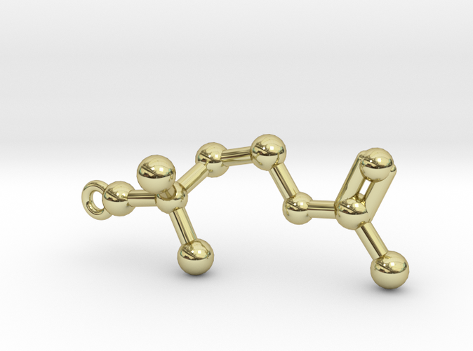 Acetylcholine Molecule Pendant Keychain in 18k Gold Plated