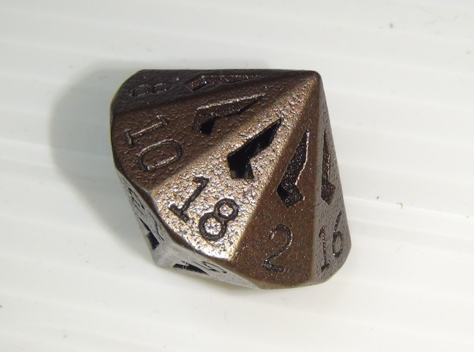 18 Sided Die in Matte Bronze Steel