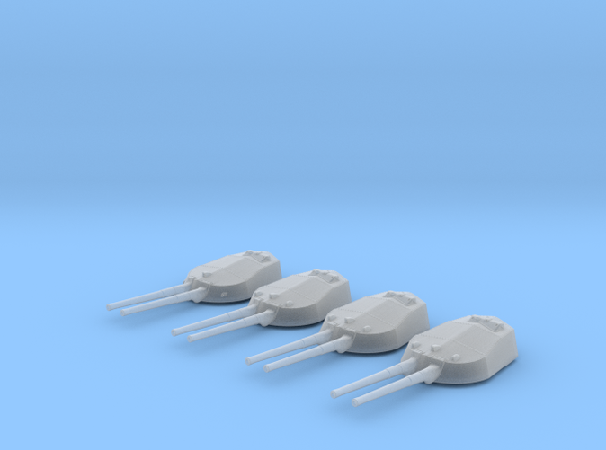 """1/600 RN WW1 13.5"""" MKV Guns x4 HMS Tiger"""