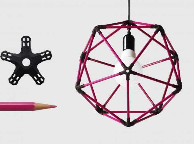 icosahedron lampshade from colour pencils!