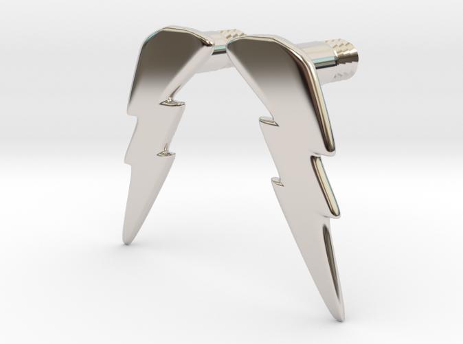 Flash earring with bolt 4mm rhodium