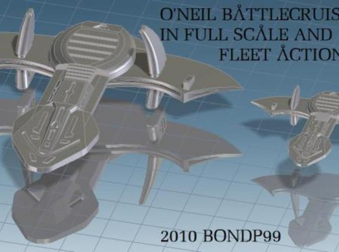 Full scale and Fleet Action scale comparison of the O'Neil battleship