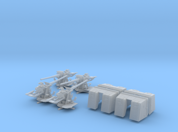 "1/128 4.7""/45 QF MK IX CPXVII Guns Ports Closed x4"
