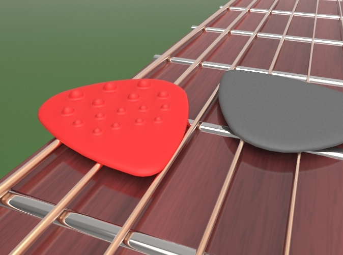 Standard size guitar pick with progressive
