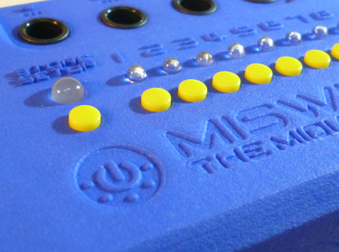 Closeup Logo with Buttons and LEDs (Photo)