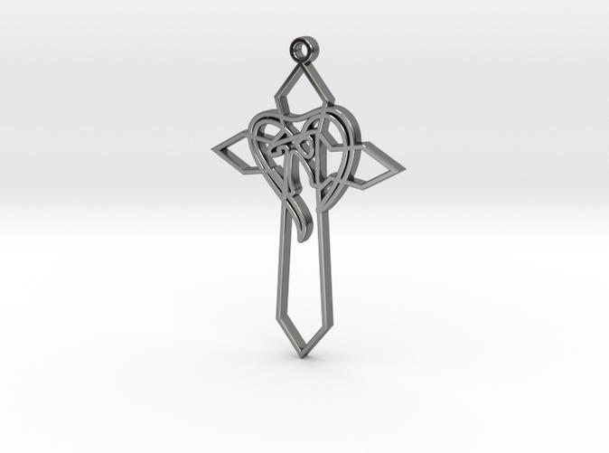 Personalised Heart Cross Pendant