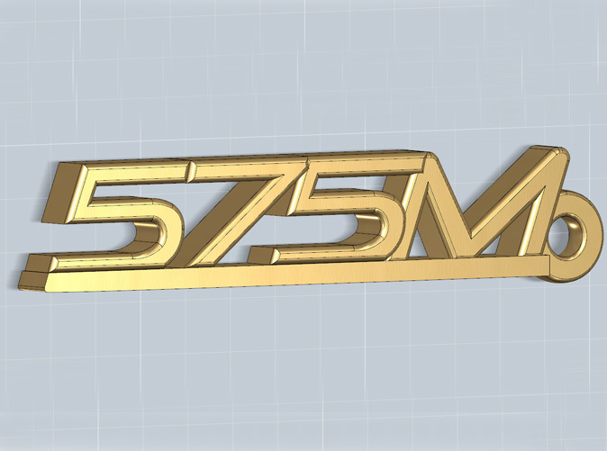 Keychain with the 575M logo, render.