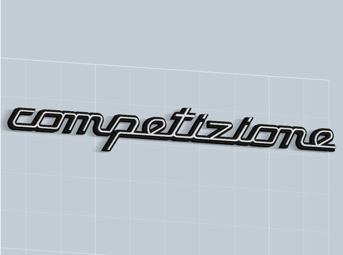 Competizione badge in Matte Black Steel, with white plastic inserts -sold apart-, render.