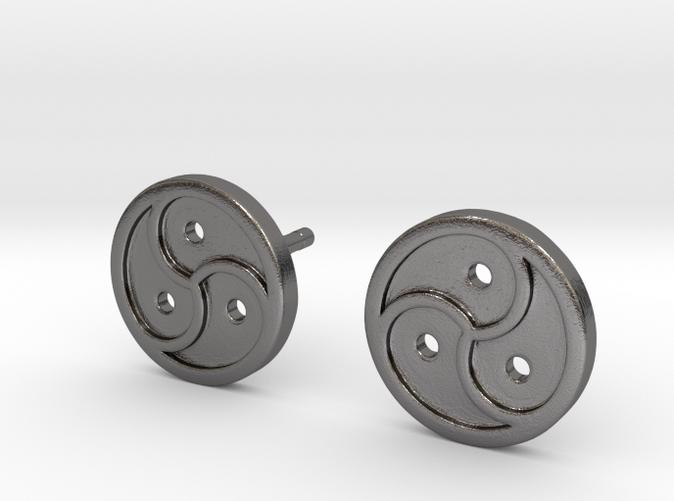 Triskele Earrings - Polished Nickel Steel