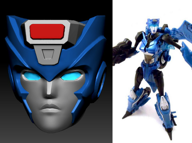 Indigo head printed in Clear Frosted Ultra Detail on Deluxe TF Prime Arcee body (Custom painted head by TM2 Dinobot