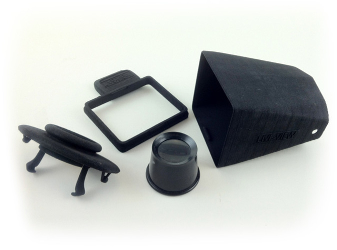 Four parts are required for the Live-View hood. Magnifying loupe purchased at Harbor Freight. Snap together assembly.
