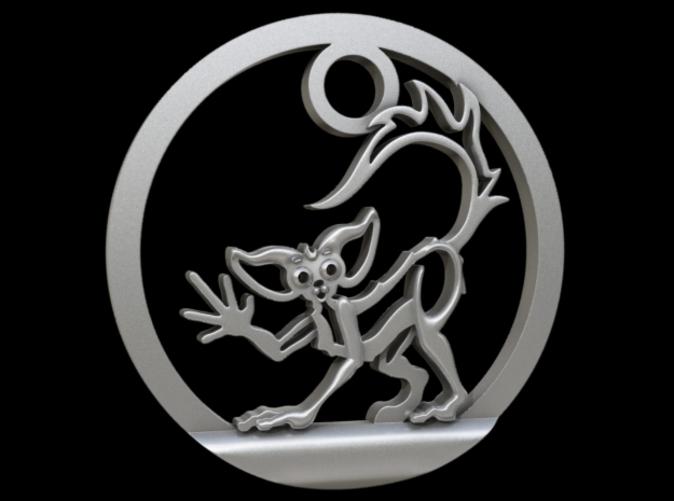 Aye-Aye Lemur Pendant in Raw Silver
