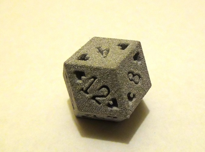 Rhombic 12 Sided Die in Alumide