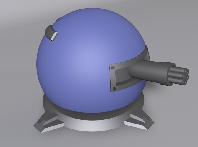 3D render of Fieldrunners Gatling Turret
