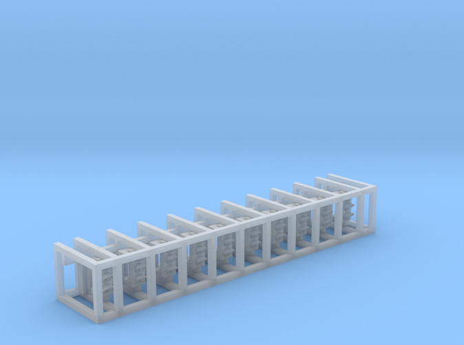 Container with 10 main bodies and rear covers