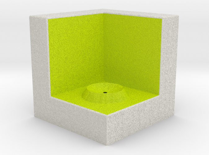 Shapeways render of Cube Display Stand for GRATITUDE in Full Color Sandstone