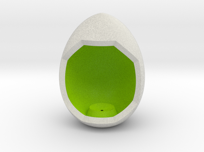 Shapeways render of Egg Display Stand for SELFLESSNESS in Full Color Sandstone