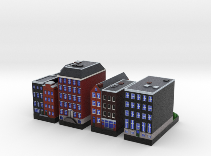Amsterdam Canal houses 1x2 (set of 4) 3d printed