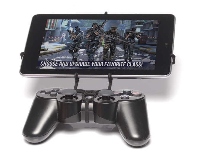 PS3 controller & Asus Fonepad 7 FE375CL 3d printed Front View - A Nexus 7 and a black PS3 controller