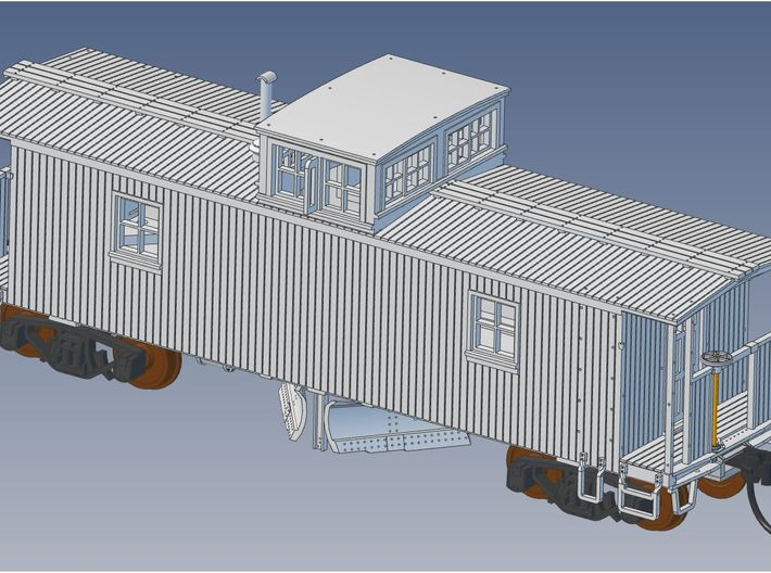 CN Double Sheathed Center Cupola Flanger HO Scale 3d printed