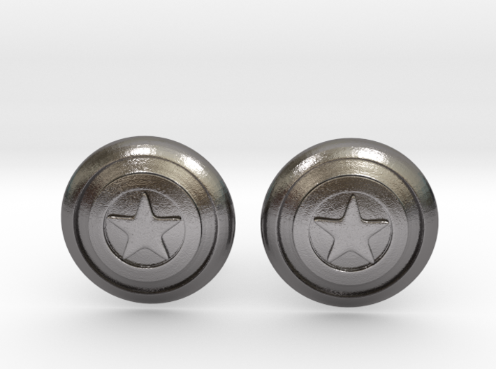 Captain America's Shield Cufflinks 3d printed
