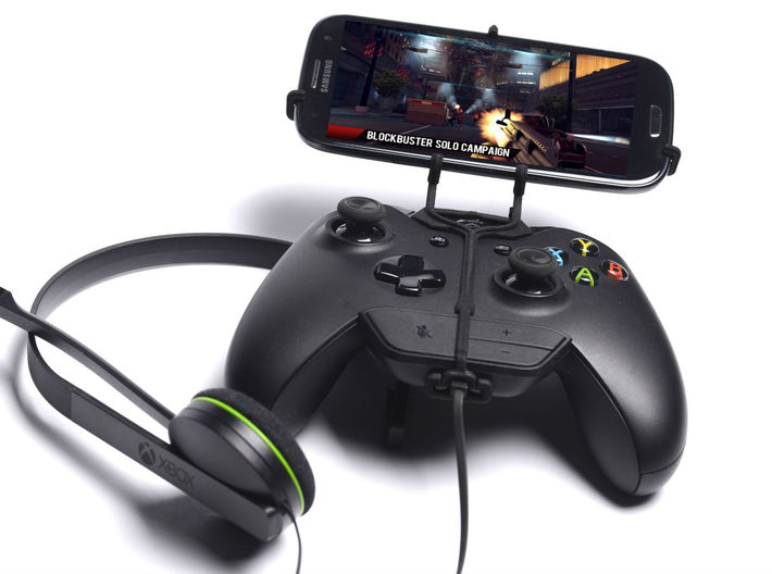 Xbox One controller & chat & Samsung Galaxy J5 - F 3d printed Front View - A Samsung Galaxy S3 and a black Xbox One controller & chat