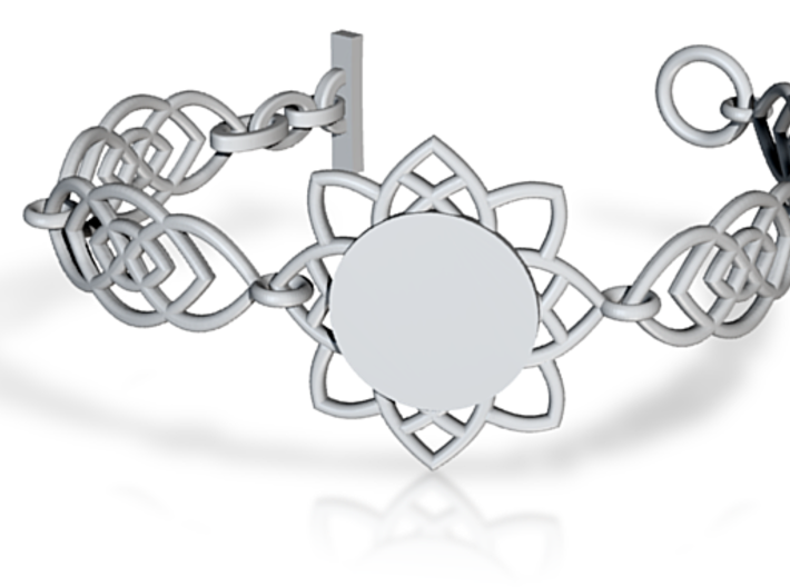 Flower Bracelet With Customizable Plate 3d printed