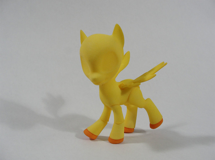 SMALL Pony: Pegasus Female Ball jointed doll 3d printed white strong and flexible material but in the yellow and orange dye options