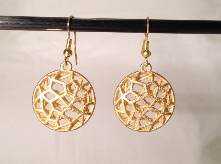 Cell Earrings - with ring #2 3d printed Bio Cell Earrings