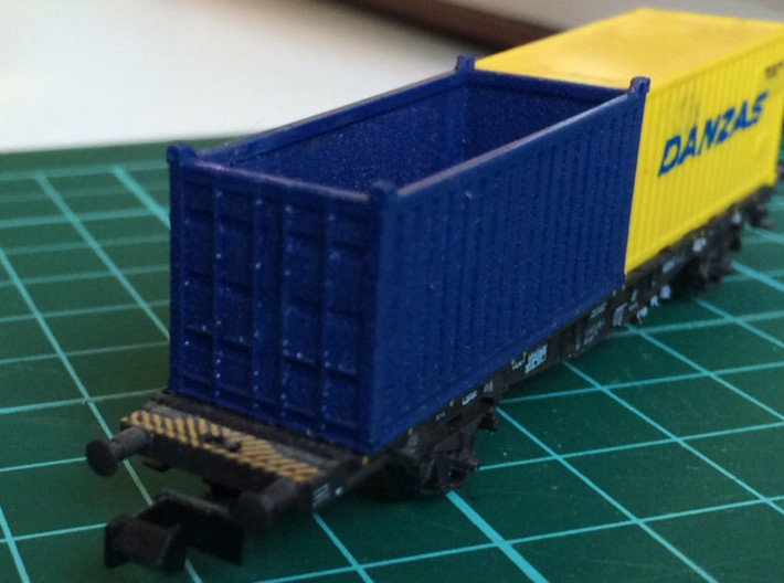 N Scale 20ft Open Top Container (2pc) 3d printed Painted container in Frosted Ultra Detail
