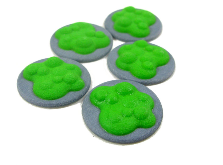 Chemical Spill Tokens (Toxic Liquid), Set of 5 3d printed Set of 5 in Full Color Sandstone.