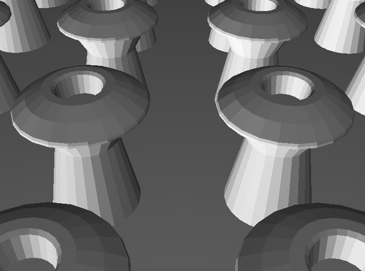 Scale Model Rivets.  2070x 0.65mm Diameter Rivets 3d printed Detail render from the source STL.