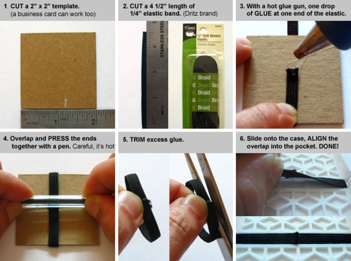"""Cariband case for iPhone 5/5s, """"holds stuff"""" 3d printed Elastic Band Instructions"""
