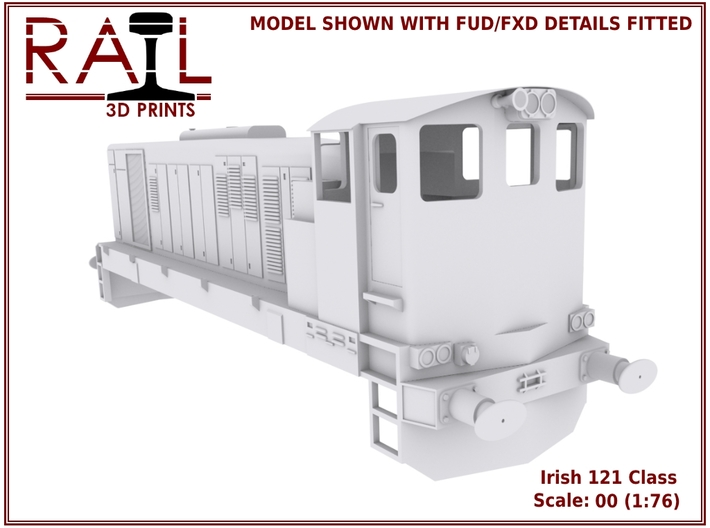 Irish Railways 121 Class 3d printed Render of the 121 Class with separately available FUD/FXD detail parts.