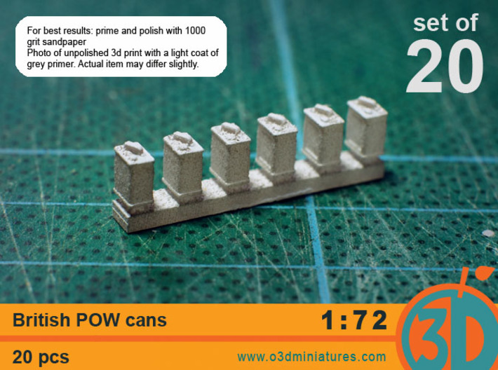 British POW Cans 1/72 scale pack of 20 3d printed
